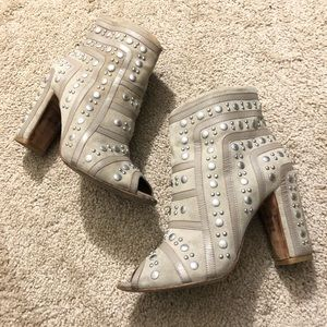 Beige Leather Open Toe Booties with Silver Studs
